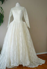VINTAGE CAHILL BEVERLY HILLS LACE PEARL SEQUIN VICTORIAN IVORY WEDDING DRESS