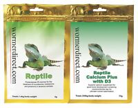 KUSURI Reptile Wormer 5g and Reptile Calcium Plus D3 75g, Food dusting powder