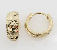 14K Yellow Gold 5mm Width Multifaceted Diamond Cut Small Hoop Huggies Earrings