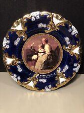 Antique Decorative Royal Vienna Portrait Plate Cobalt Blue & Gold Mother & Child