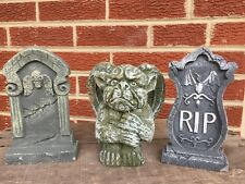 GARGOYLE Halloween Cemetery REST IN PEACE Headstone Vintage Figures Decor Statue