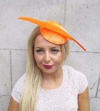 Orange Velours Décoration Plume Cheveux Chapeau Bibi Courses Coiffe Vintage 2580