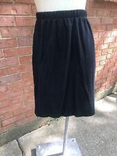 Vintage Ribbed Knit Straight Pull On Skirt-Black