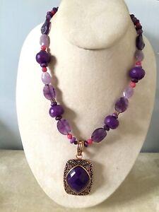 Genuine Amethyst, Pink Jade & Copper BARSE Necklace, MSRP $250