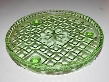 GREEN DEPRESSION GLASS FOOTED CAKE TRAY