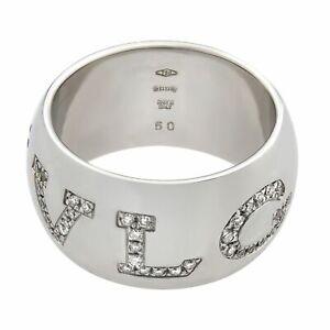 Bvlgari Monologo 18K White Gold Diamond Ring 0.90cttw Size 50