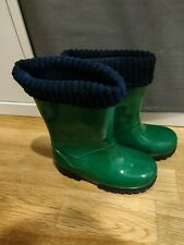 Demar Green Kids Wellies Wellington Boots Rainy Snow Thermal Layer size 24/25