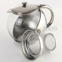 Stainless Steel Glass Teapot With Herbal Infuser Tea Leaf Filter Strainer