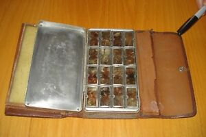 Vintage Leather & Metal Fly Box/Wallet with Flies
