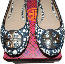 dc85b1c896906 Tory Burch Claire Reva Ballerina Flats Gold Logo Ballet Shoe 6.5 Navy  Leather