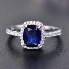 Exquisite Sapphire Zircon Princess Wedding Ring White Gold Jewelry