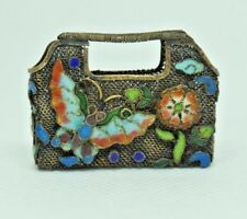 Chinese Silver Gilt Enamel Basket w/ Handle Purse Flowers Butterfly