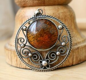 Antique Vintage Filigree Natural Round Baltic Amber Pendant 9,3 Gr.