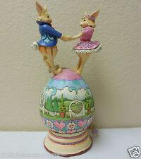"Jim Shore ""BUNNY LOVE"" Bunnies Dancing On Musical Easter Egg #4037679"