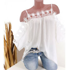 Women Summer Casual Cold Shoulder Floral Lace Short Sleeve T Shirt Loose Blouse