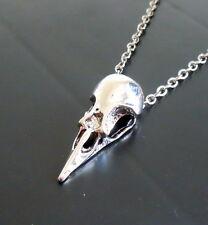 Cráneo Gótico Pájaro Cuervo Cuervo Colgante Collar Cadena Vintage Tono Plata 58 Cm