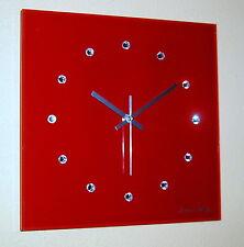 Funk Wanduhr Glas rot silber modern Luxus Uhr Swarovski Elements Kristall 30 cm
