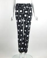 Joseph Ribkoff Cropped Pants Taffeta Black White Taupe Geometric Print Sz 10 New