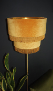 Gold Velvet Tiered Lampshade with Gold fringin and Brushed Gold Lining