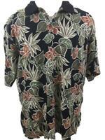 Cooke Street Honolulu mens Hawaiian shirt size L large polo knit black green