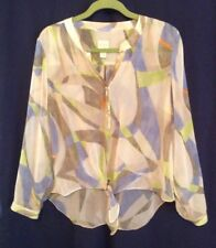 Chico's White/lime/blue Print Sequence Y-neck Front Tie Blouse Sz.2(L)