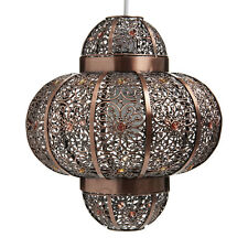 Vintage Large Rustic Bronze Metal Moroccan  Light Shade Pendant NEW