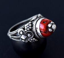 Old Silver Vintage Yemen Ring Coral Antique Tribal Ethnic East Yemenite Jewelry
