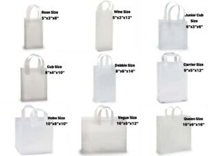 Clear FROSTED 3 Mil Plastic Polyethylene Gift Bags Choose Size & Package Amount