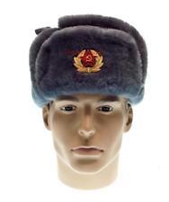 Ushanka Officer Military Winter Fur Hat Russian Army Soviet Cap USSR Uniform