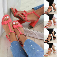 New Womens Mid Block Heel Sandals Bow T-Bar Ankle Strap Summer Shoes Sizes 3-8