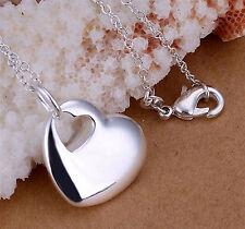 925 Sterling Silber pl. Halskette Herz Anhänger  Kette Anhänger Herzkette