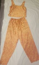 Victoria secret satin pajamas Top And Bottom Sz L In Great Condition Orange Leaf