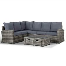Club Rattan Harmony Garden Corner Sofa with Coffee Table and 2 Stools in Grey