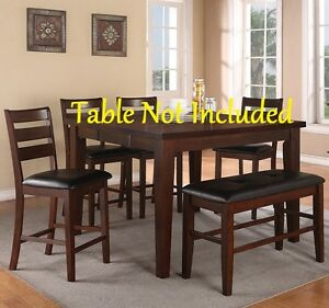 Modern Dining Walnut Finish Counter Height Chairs Black Faux Leather Cushioned