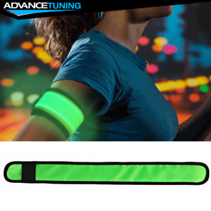 LED Slap Armband Lights Glow Band for Safe Night Running Cycling 35cm Green