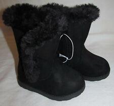 New Cat & Jack Black Katrina Fur Lined Winter Zip Up Boots Toddler Girls Size 5