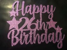 Happy 26th Birthday Cake Topper With Stars LILAC Glitter - FREE UK P&P