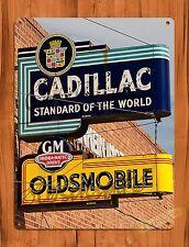 "TIN-UPS Tin Sign ""Cadillac Oldsmobile"" Car Garage Dealership Vintage Art Poster"