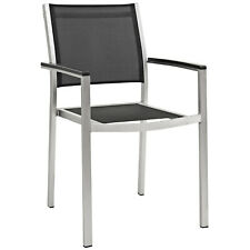 Modway Shore Outdoor Patio Aluminum Dining Chair - Silver Black
