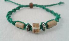 Brown Bone Bead Hemp Bracelet Friendship Boho Surfer Handmade Men's Man's Green