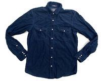 L.O.G.G Long Sleeve Pearl Snap Button Up Corduroy Shirt Navy Size Medium