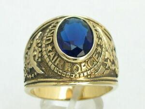 United States Air Force Military September Montana Birthstone Men Ring Size 10