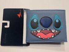 New Disney Alien Lilo and Stitch Smile Face Bi-Fold Blue Faux Leather Wallet