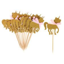 10x Glitter Gold Unicorn Cupcake Topper Cake Stick Pick Kids Birthday Party