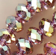 1000 Pcs 3x4mm Faceted Purple Multicolor Crystal Rondelle Loose Beads