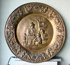 ANTIQUE BRASS HAND CRAFTED HUGE 30'' WALL HANGING PLATE