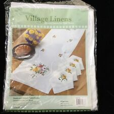 "Village Linens Petals & Ribbons Table Runner Stamped Embroidery 14"" x 44"""