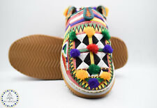 Berber Slippers Moroccan Shoes Leather Women Pom Poms Tassels Amazigh Embroidery