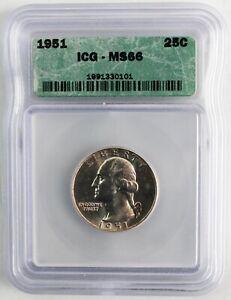 1951 Silver Washington Quarter 25c US Coin Certified ICG MS66