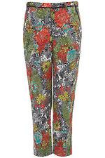 Topshop Red Rose Print Jacquard Cigarette Trousers UK 8 EURO 36 US 4 BNWT
